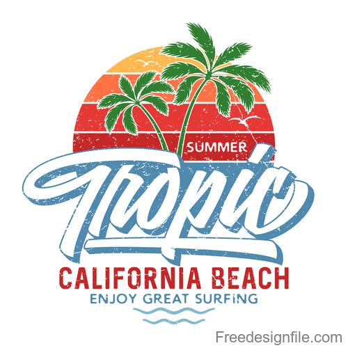 Tropic Summer Logo design vector