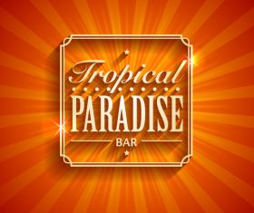 Tropical paradise logo design vector