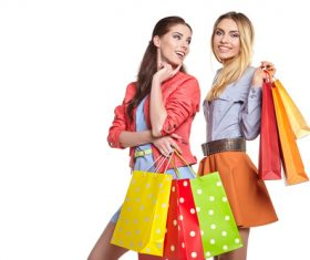 Two women holding shopping bags Stock Photo
