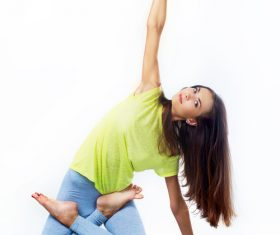 Various yoga action women Stock Photo 04
