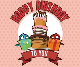 Vintage Happy birthday card vector material