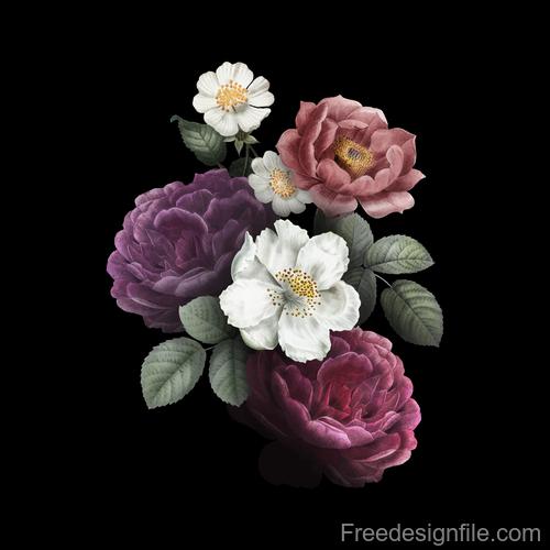 Vintage colored flower illustration vector