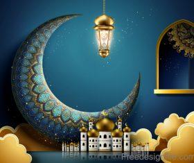 Vintage decor with Eid mubarak ornate background vector 03