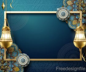 Vintage decor with Eid mubarak ornate background vector 04
