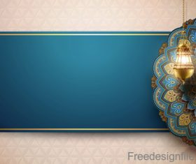 Vintage decor with Eid mubarak ornate background vector 05