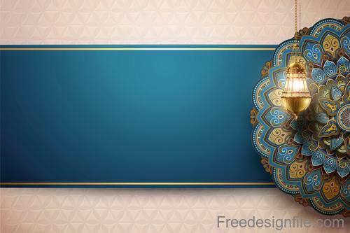 Vintage decor with Eid mubarak ornate background vector 05