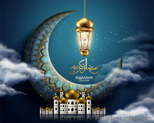 Vintage decor with Eid mubarak ornate background vector 06