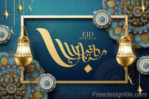 Vintage decor with Eid mubarak ornate background vector 09