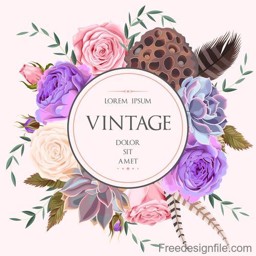 Vintage flower card round vector
