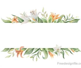 Watercolor lilies flower background design vector