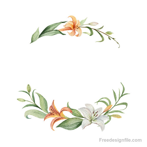 Watercolor lilies flower frame vector 01