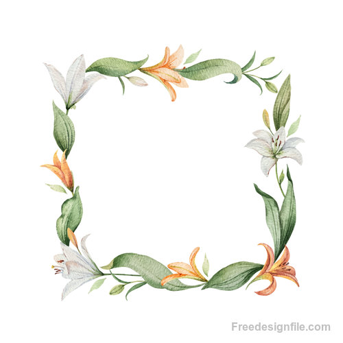 Watercolor lilies flower frame vector 02