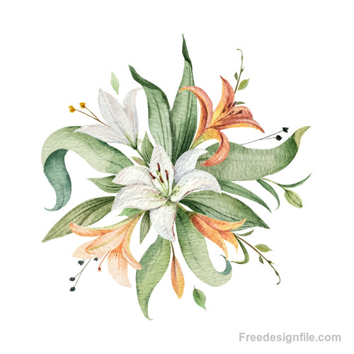 Watercolor lilies flower vector illustration 01