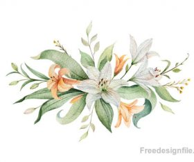 Watercolor lilies flower vector illustration 02