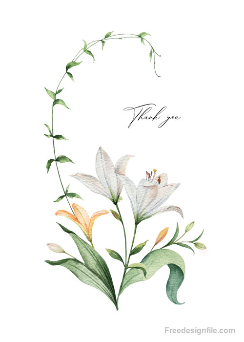 Watercolor lilies flower vector illustration 03