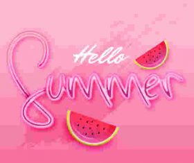 Watermelon with pink summer background vector