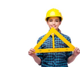 Wearing overalls woman holding a triangle ruler Stock Photo