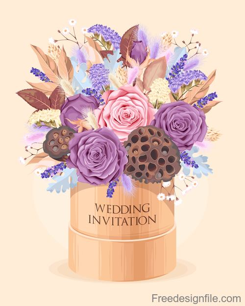 Wedding invitation card with bouquet vector 01