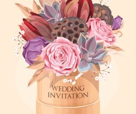 Wedding invitation card with bouquet vector 02