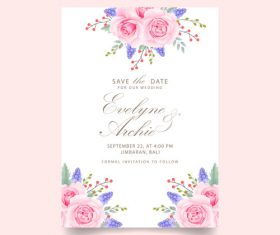 Wedding invitation card with pink flower vectors 01