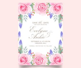 Wedding invitation card with pink flower vectors 02