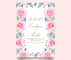Wedding invitation card with pink flower vectors 03