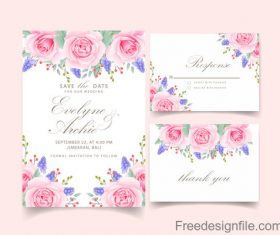 Wedding invitation card with pink flower vectors 04