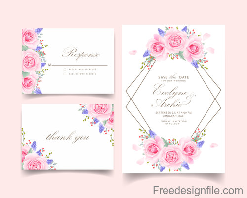 Wedding invitation card with pink flower vectors 05