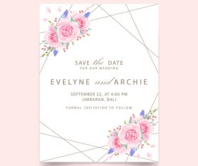 Wedding invitation card with pink flower vectors 06