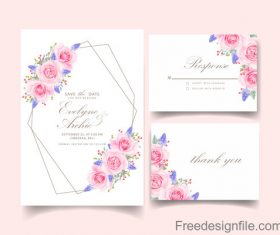 Wedding invitation card with pink flower vectors 07