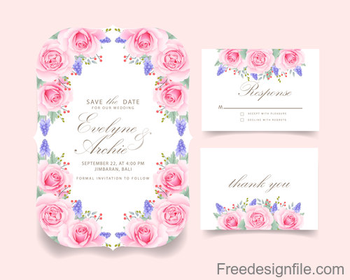 Wedding invitation card with pink flower vectors 08