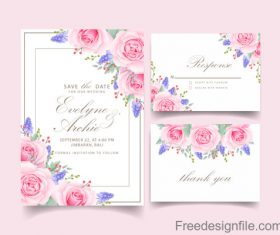 Wedding invitation card with pink flower vectors 09
