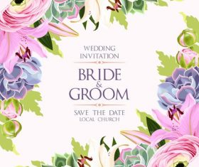 Wedding invitation card with vintage flower vector 01