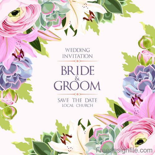 Wedding invitation card with vintage flower vector 01