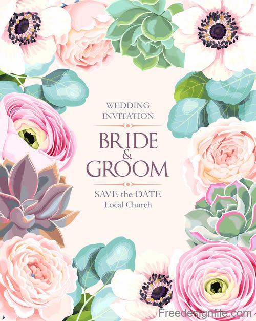 Wedding invitation card with vintage flower vector 02