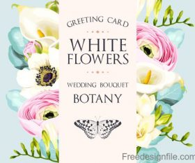 Wedding invitation card with vintage flower vector 03
