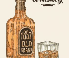 Whiskey bottle and glass illustration sketch vector