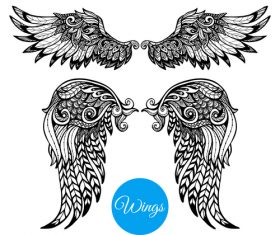 Wings vintage decorative design vector