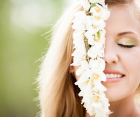 Woman and white flowers Stock Photo