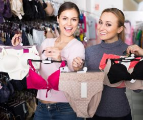 Woman buying underwear Stock Photo