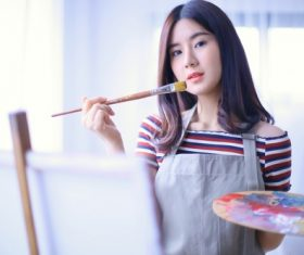 Woman painting oil painting Stock Photo