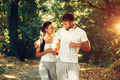 Young couple together outdoors sport Stock Photo 01