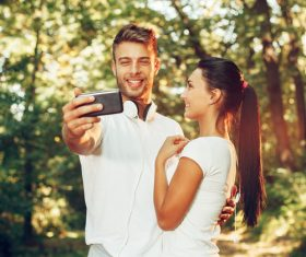 Young couple together outdoors sport Stock Photo 02
