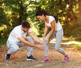 Young couple together outdoors sport Stock Photo 04