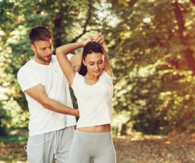 Young couple together outdoors sport Stock Photo 05