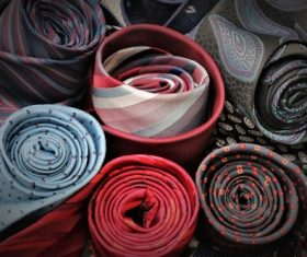 a variety of mens ties Stock Photo