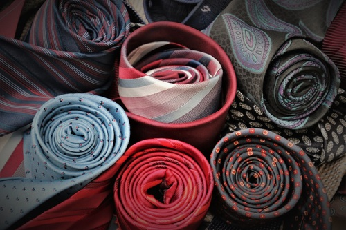 a variety of mens ties Stock Photo