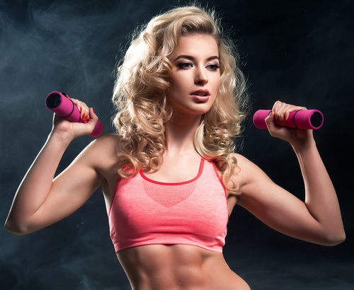 blonde women working out  fitness model Stock Photo