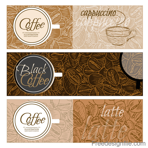coffee latte banners vector 02