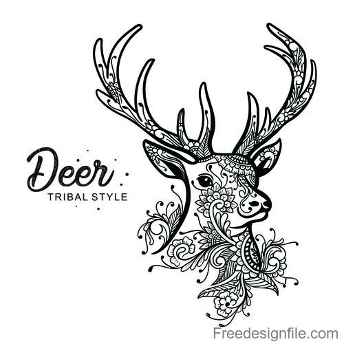 deer head tribal style Hand drawn vector